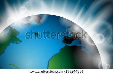 Vector design with planet earth sunrise or burst of light in space. EPS 10 illustration. - stock vector