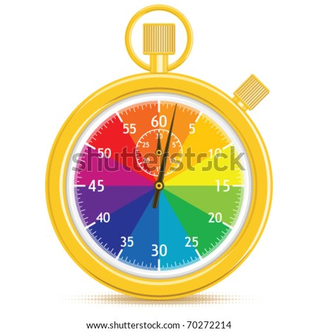 Vector Designer's stopwatch.  Golden analogue stopwatch with a color wheel face.  Hands have just started counting.  Gradient free illustration. - stock vector