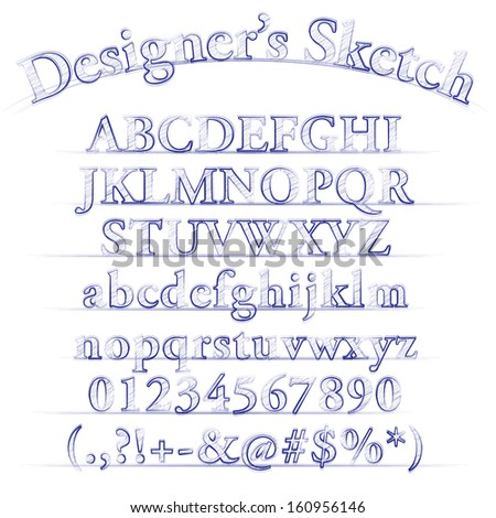 Vector designer sketch alphabet - stock vector