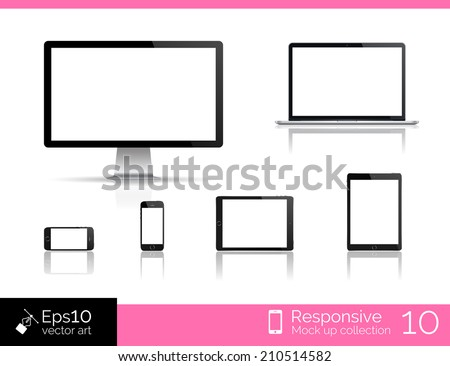 Vector desktop computer blank mock up. Glossy laptop computer mock up. Modern tablet  computer mock up. Perfectly detailed smartphone mock up near computer blank. Mock up set for responsive web design - stock vector