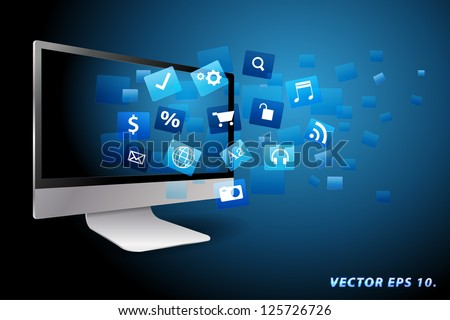 Vector desktop computer, internet communication and cloud computing concept: with cloud of color application icons
