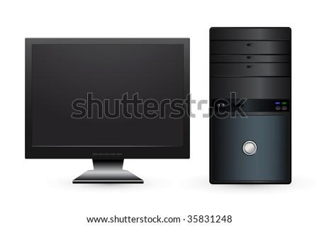 vector desktop computer with lcd monitor - stock vector