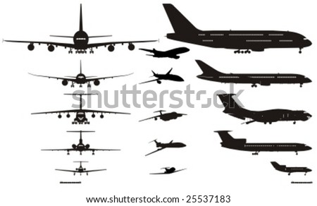 Vector detail airplanes silhouettes set. More vector aircrafts see in my portfolio. - stock vector