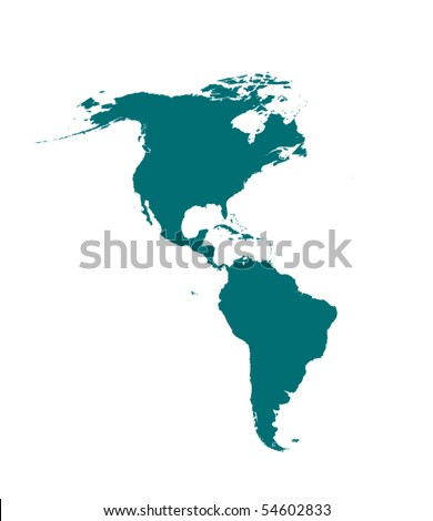 vector detailed America map silhouette - stock vector