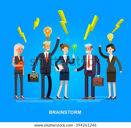 Vector detailed character . Business concept brainstorming team, moves to success team of work management on big idea, people organization of startup process - stock vector