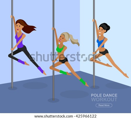Vector detailed character Fit woman dancing around the pole. Pole dance training. Happy and sporty