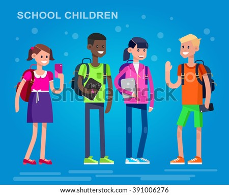 Vector detailed character flat design children students boy and girl. Kids  smiling holding Gadgets and backpacks. Primary or elementary school  - stock vector