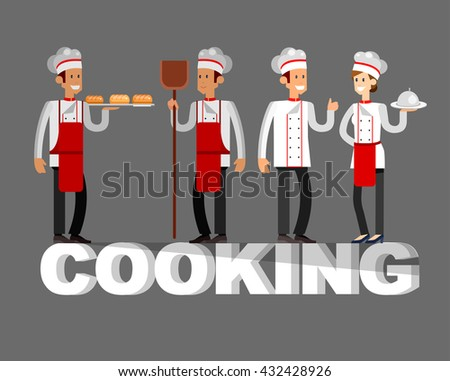 Vector detailed character people in the restaurant,  baker and Chef. Restaurant team people character. Cooking - stock vector
