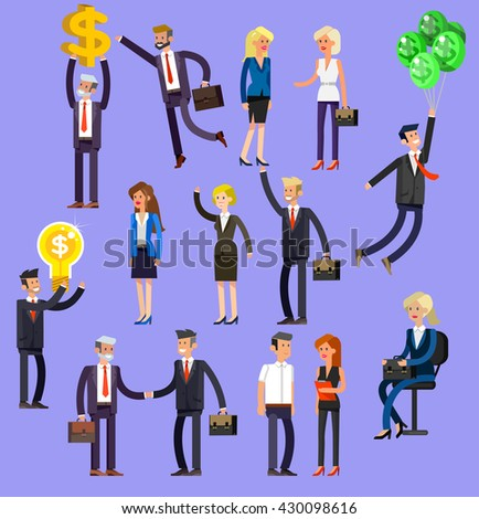 Vector detailed characters people, business men and women in action shake hands, with a briefcase, secretary, big boss, startup man, colleagues, lifestyle - stock vector
