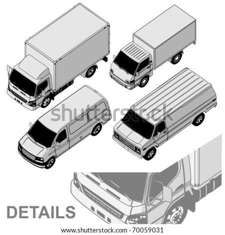 Vector detailed delivery van isometric set - stock vector