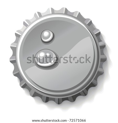 Vector detailed illustration of bottlecap isolated over white background - stock vector