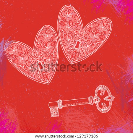 vector detailed illustration of two locked hearts and one key over red watercolor splashes. Concept picture for love, marriage, anniversary, engagement, family. Unique valentines card or t-shirt print - stock vector