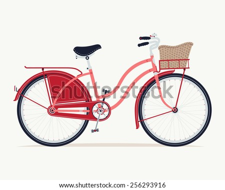 Vector detailed illustration on retro ride with vintage bicycle with dress guard, front and rear racks and wicker basket, side view, isolated - stock vector