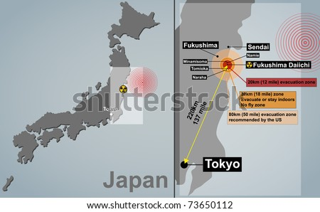 Vector detailed map of Japan with seismic epicenter, radioactive contamination, evacuation zones and cities - stock vector