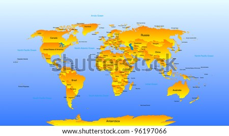Vector detailed map of the world - stock vector