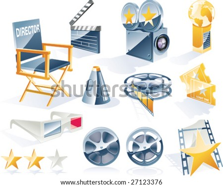 Vector detailed movie icon set - stock vector