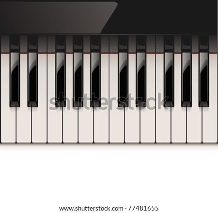 Vector detailed piano keyboard - stock vector