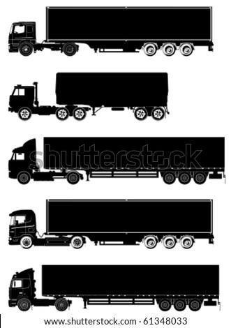 Vector detailed trucks silhouettes set - stock vector