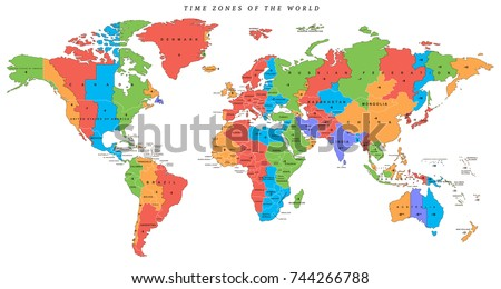 Vector detailed world map time zones stock vector royalty free vector detailed world map with time zones and countries gumiabroncs Image collections