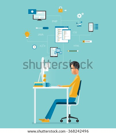 vector developer working on workplace.  develop for website and application .programming .business character.programmer.web creative design  - stock vector