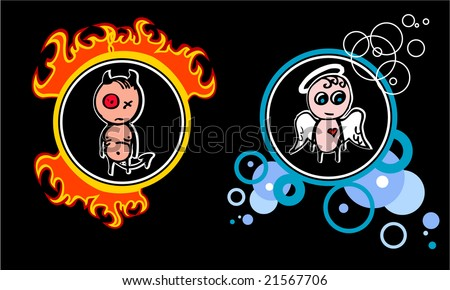 Vector devil and angel - stock vector