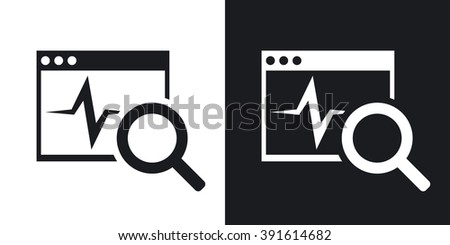 Vector diagnostics software icon. Two-tone version on black and white background - stock vector