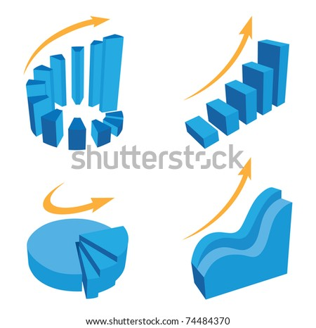 Vector diagram icons for business presentations and reports - stock vector