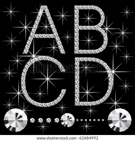 M Letter In Black Diamonds Diamond Alphabe...