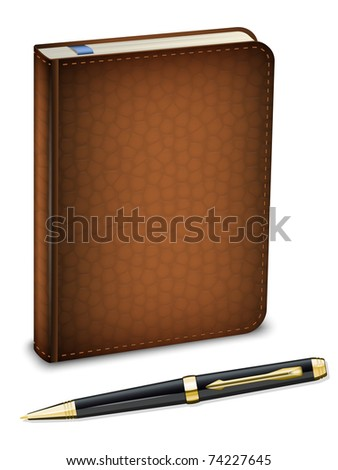 Vector diary and classic pen on the white background - stock vector