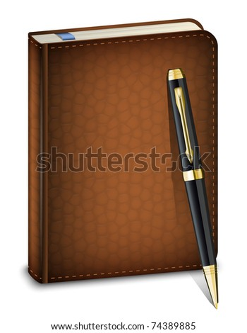 Vector diary with classic pen on the white background - stock vector