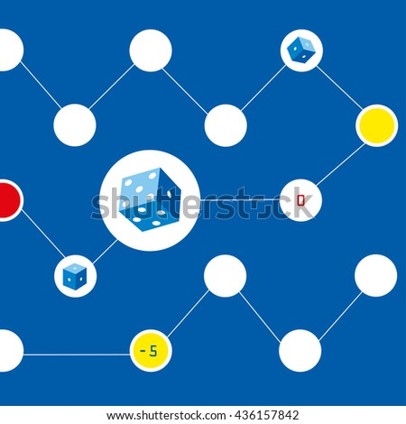 Vector dice. Game of dice. Background blue color - stock vector