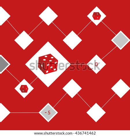 Vector dice. Game of dice. Background red color - stock vector