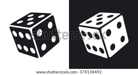 Vector dice icon. Two-tone version on black and white background - stock vector