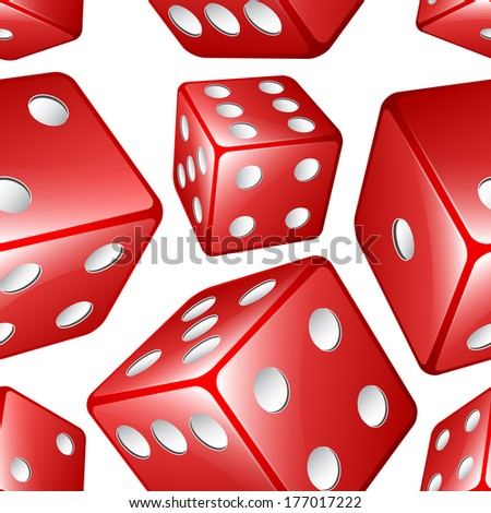 Vector dices seamless background - stock vector