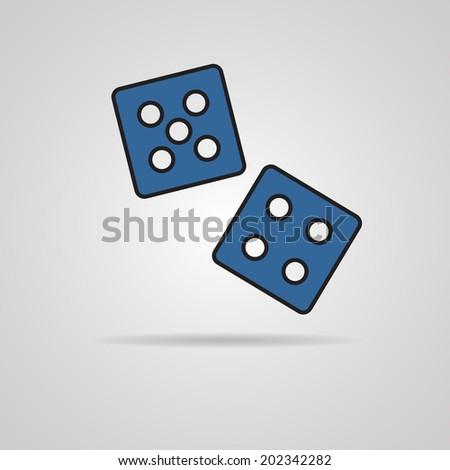 Vector dices vector icon on gray background. EPS10 - stock vector
