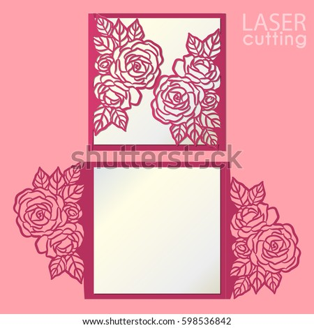 Vector die laser cut envelope template stock vector hd royalty free vector die laser cut envelope template with rose flower wedding lace invitation mockup cutout stopboris Gallery