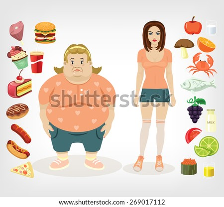 Vector diet flat illustration - stock vector