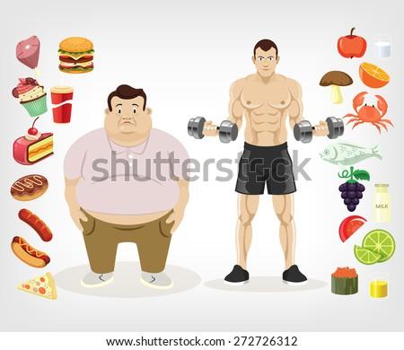 Vector diet flat illustration - stock vector