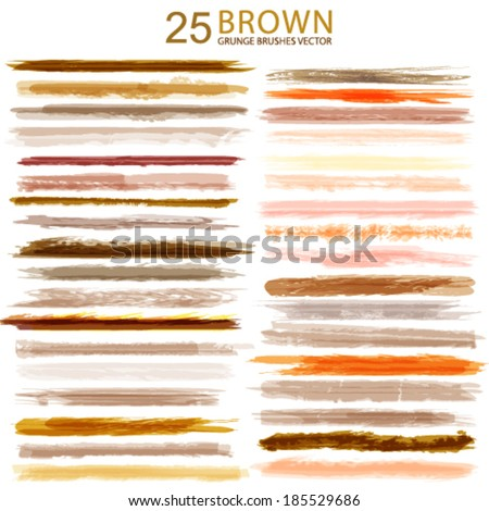 Vector 25 different brown grunge brush strokes. - stock vector