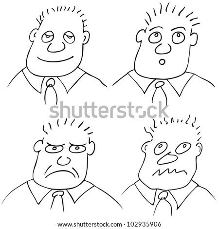 Vector different facial expressions - stock vector
