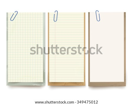 Vector different note papers and paper clips. - stock vector