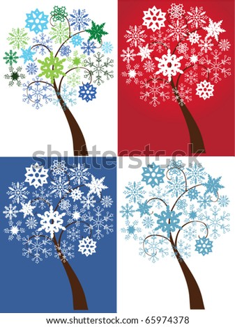 vector different snow trees - stock vector