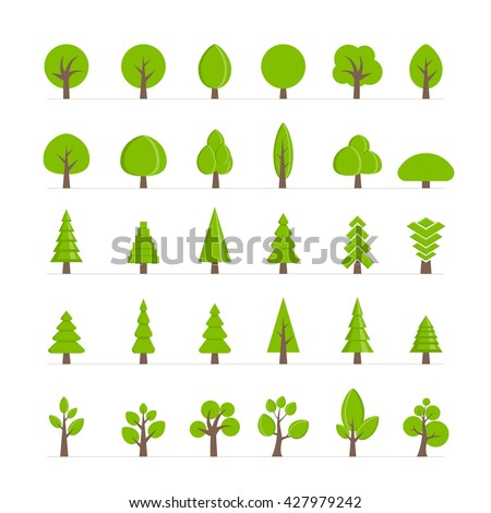 Vector different trees, bushes, grass and other natural objects collection. Vector tree set. - stock vector