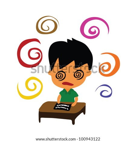 Vector - Difficult. A boy and a difficult exam. - stock vector