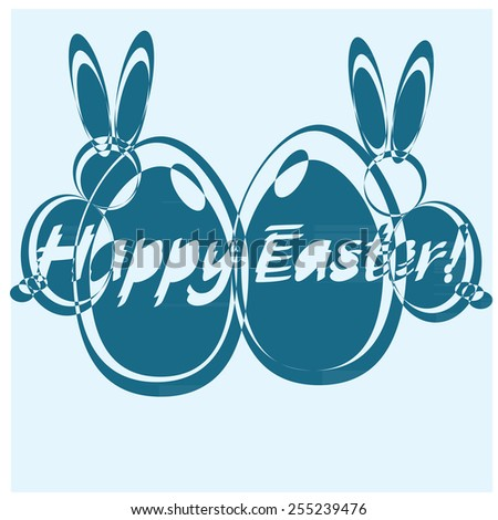 vector digital blue colors design elements for happy easter with eggs and rabbits - stock vector