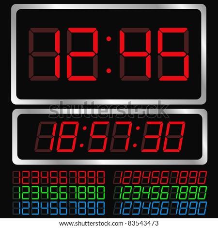 Vector Digital Clock - stock vector