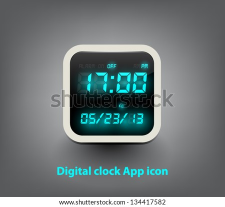 Vector digital clock button / icon for websites (UI) or applications (app) for smartphones or tablets - stock vector