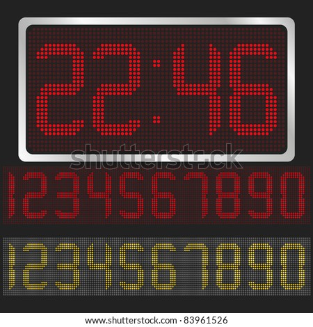 Vector digital clock with red and yellow digits