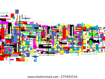 vector digital computer concept, square abstract background, geometric technology - stock vector