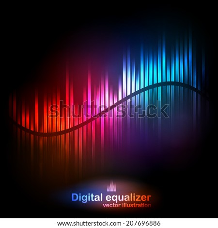 Vector digital equalizer with colored lights and reflections on a black background. Vector illustration can be used for interfaces in web design, Wallpapers, postcards and musical banners. - stock vector